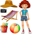 Female hipster and beach set vector image vector image