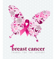 Breast cancer support poster pink ribbon butterfly vector image