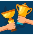 Sport or business background with awards and hands vector image