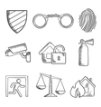 Safety and security sketch style icons vector image vector image