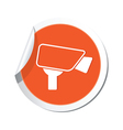 camera icon orange label vector image