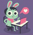 Cute Bunny Girl at Computer vector image
