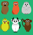Animals flat set vector image