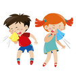 boy and girl having cold vector image