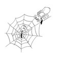 cartoon of businessman trapped by spider in web vector image