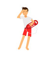 lifeguard man character on duty standing with life vector image