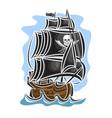 pirate cartoon sailing ship vector image