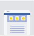 website user interface main page with emoji icons vector image