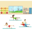 Yoga Class With Trainer Helping And Correcting vector image
