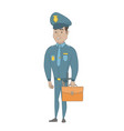 young hispanic policeman holding a briefcase vector image