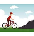 Racing cyclist rural landscape background vector image