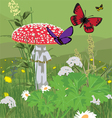glade with fly agaric vector image vector image