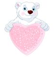 Polar Bear Holding Heart Shape Sign vector image