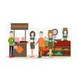people buying groceries in vector image