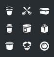 set of disposable tableware icons vector image