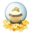 A crystal ball with a cake vector image