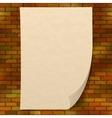 Paper sheet on brick wall vector image vector image