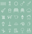 Gardening line icons on green background vector image vector image