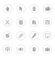 Gray simple flat icon set 3 with circle frame vector image