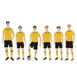 Young guys school football team with coach trainer vector image