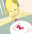 Girl eating cherry vector image