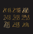 handdrawn brush lettering set with numbers 2018 vector image