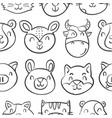 head animal style funny doodles vector image