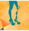 Print legs of fashion girl on contemporary orange vector image