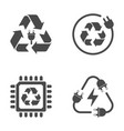 recycle sign e-waste garbage icons on white vector image