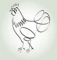 Rooster in minimal line style vector image