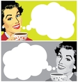 Woman With Cup of Coffee and Speech Bubble vector image
