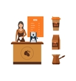 Young shop assistant serving a cup of coffee vector image