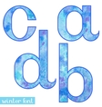 Winter watercolor font ABCD vector image