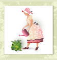 girl gardener with a watering can vector image