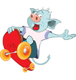 Cute Devil Skateboarding Cartoon vector image