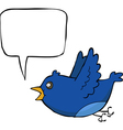 blue bird with bubble vector image