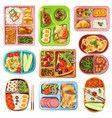 boxed lunches set vector image