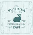 butcher american shop label design with rabbit vector image