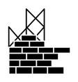 construction building brick wall icon vector image