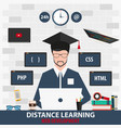 distance learning online education web vector image