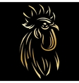 golden template for the logo with Rooster vector image