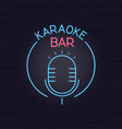 karaoke neon signboard retro sign for karaoke and vector image