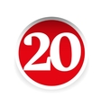 Number twenty red label vector image