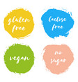 set of vegan gluten lactose free no sugar badges vector image