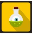 Bottle with potion and eye icon flat style vector image