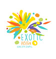 exotic logo original design summer travel hand vector image vector image