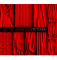 collection of red curtains with shadows and glare vector image
