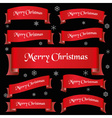 red merry christmas slogan curved ribbon banners vector image