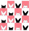 Black White Pink Cat Rabbit Chess board vector image