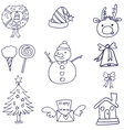 Christmas doodle collection with hand draw vector image